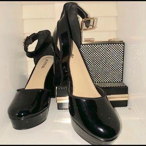 JustFab Shoes - NWOB-  Black Patent Platform Heels